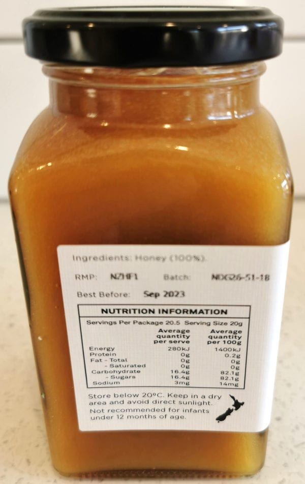Manuka Honey Nutrition Information - Island Hills Station